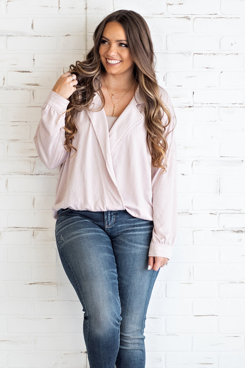 Tell Me I'm Pretty Surplice Top : Blush