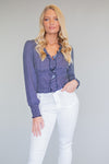 Eleanor Ruffle Polka Dot Top : Navy