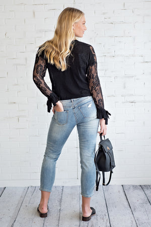Let's Get Tea Lace Blouse : Black