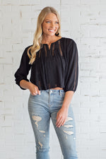 Like Your Style Woven Top : Black