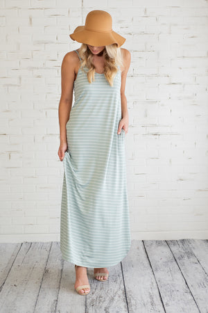 Champagne Beach Striped Dress : Sage/Ivory