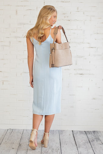Always Button My Mind Dress : Sky Blue