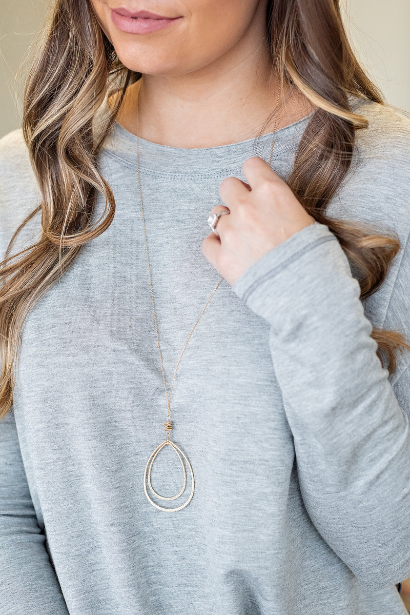 Jessica Double Teardrop Necklace : Gold