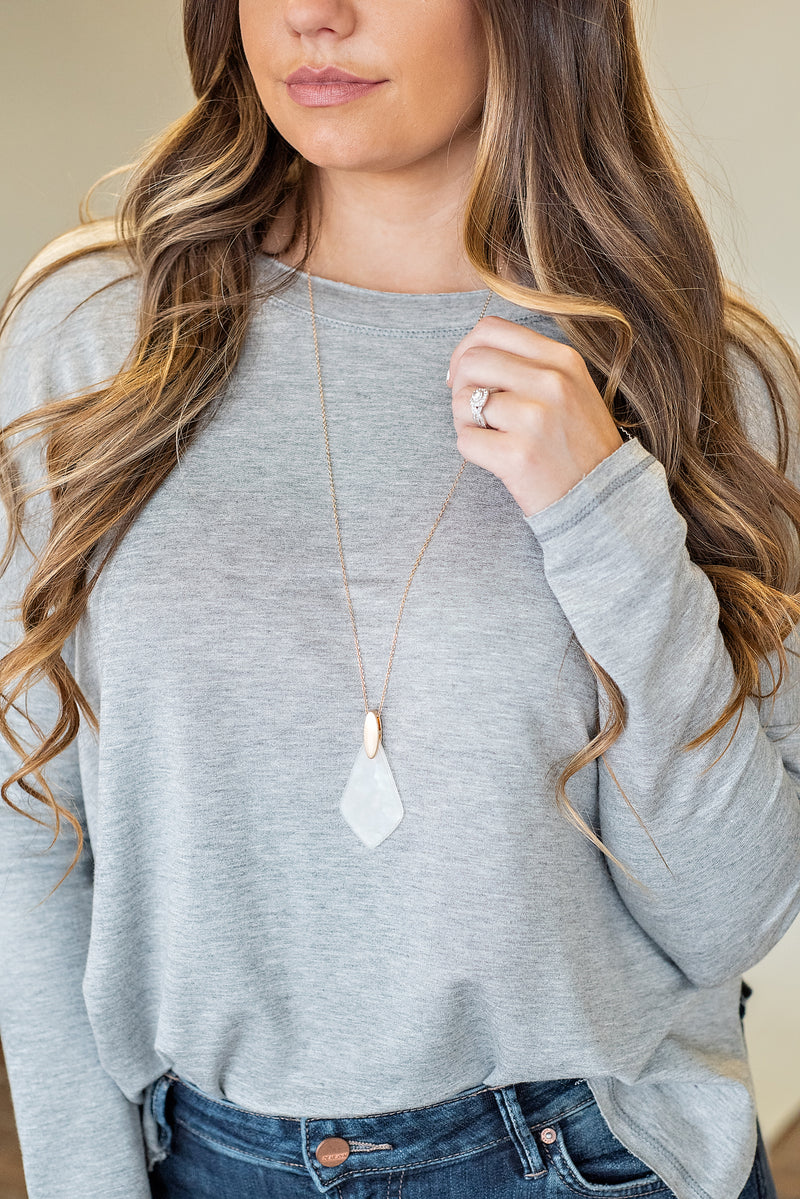Ophelia Teardrop Necklace : White