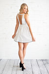 Talk Of The Town Open Back Dress : White/Black