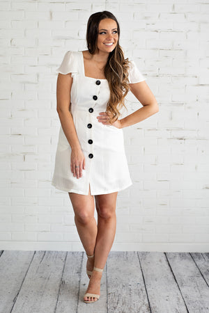 Sweet Innocence Button Down Dress : White