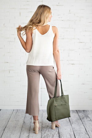Trend Setter Cropped Knit Pant : Mocha