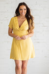 Songbird Tie Front Short Sleeve Dress : Yellow