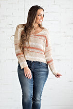 Wouldn't Knit Be Nice Striped Sweater : Oatmeal