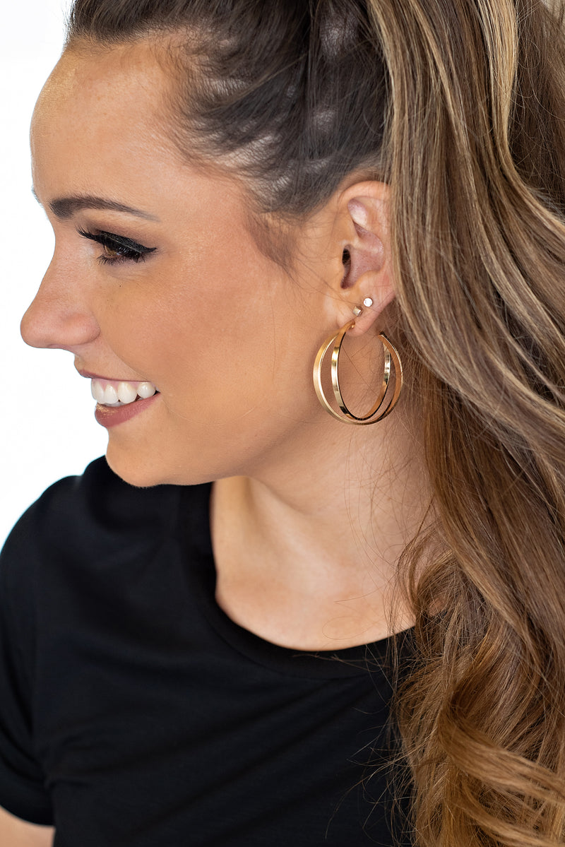 Mya Double Hoop Earrings : Gold