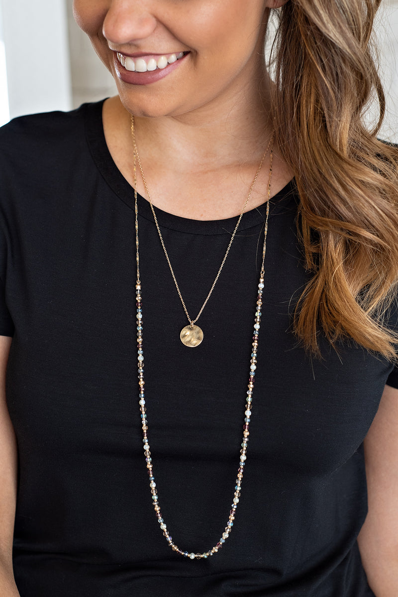 Taisha Multi Chrystal Layered Neckalce With Gold Coin : Multi