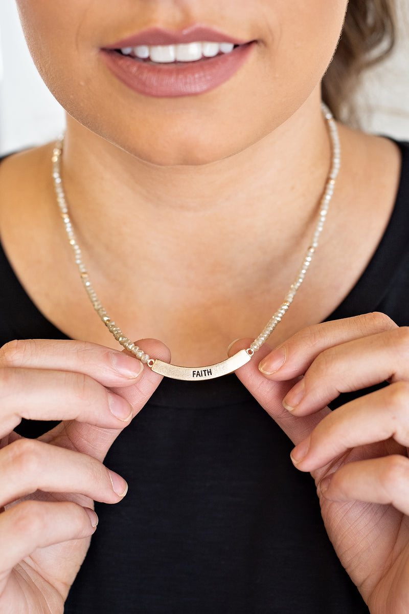 Faith Stretch Curved Bar Necklace : NAT
