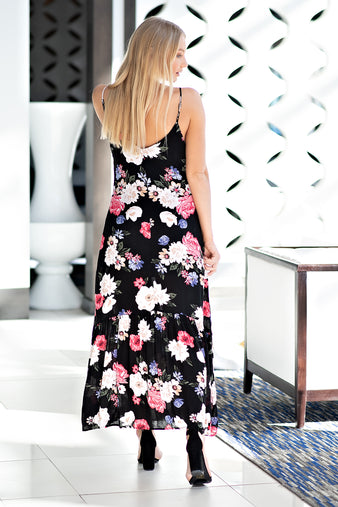 Knowledge Is Flower Woven Dress : Black