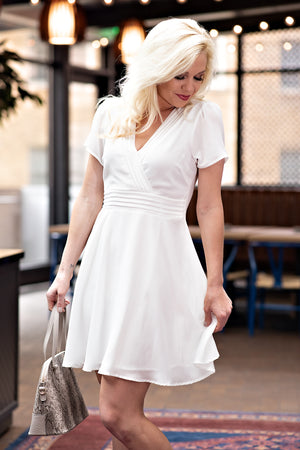 Bridal Brunch Pintuck Flare Dress : White