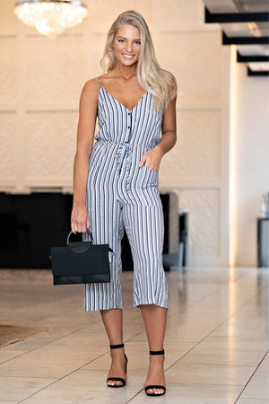 Nautical Life Striped Jumpsuit : Grey/Navy