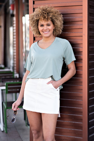 Say It Simply V-Neck Tee : Sage