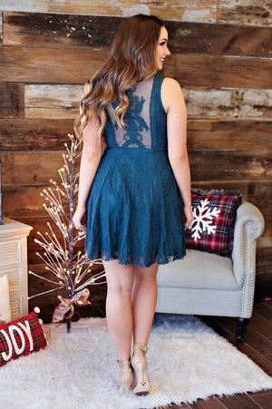 * Looks Like A Beauty Lace Dress: Teal