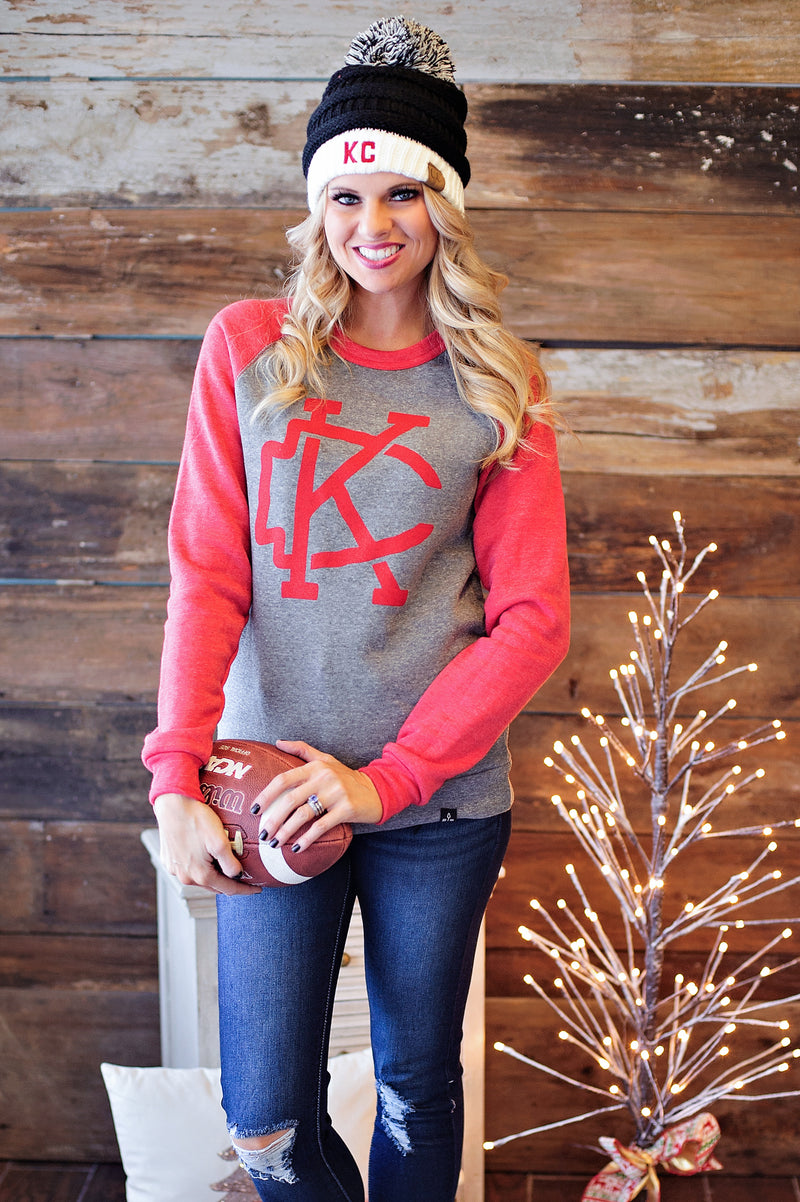 * Flint & Field KC Sweatshirt: Grey/Red