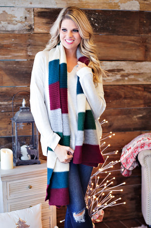 * Long Colorblock Knit Cozy Scarf: Hunter Green/Wine/Grey