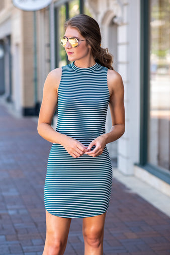 Keep Me Close Sleeveless Striped Dress : Green/Ivory