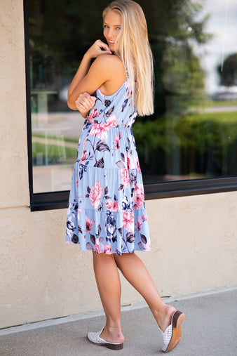 Set You Free Floral Ruffle Detail Dress : Light Blue