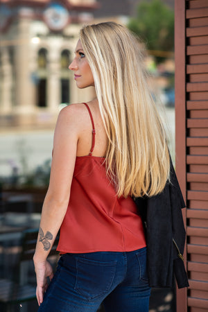 Flirty Feelings Cowl Neck Cami Top : Rust