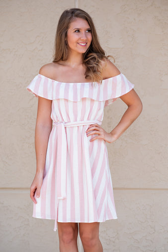 Got the Scoop Striped Dress: Baby Pink