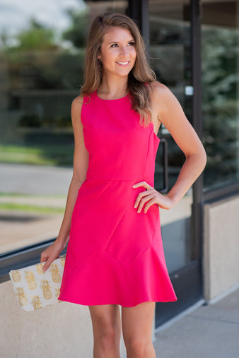 What A Perfect Day Flare Dress : Hot Pink