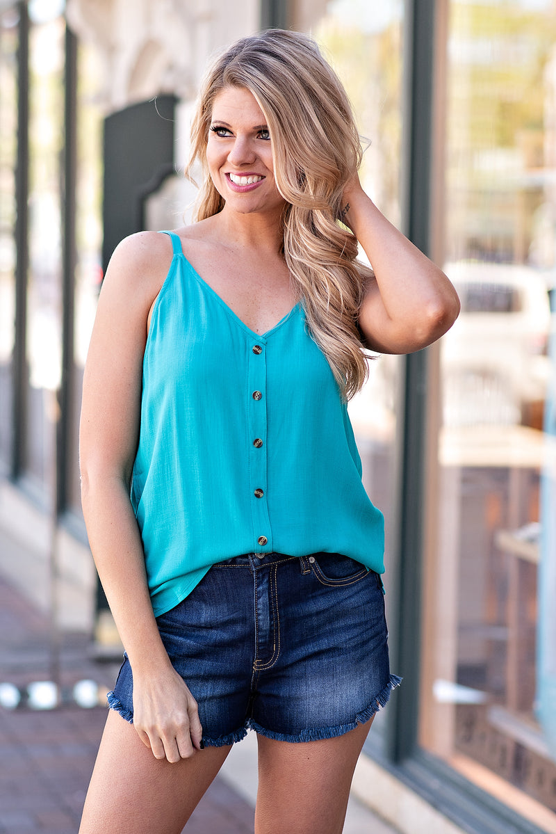 Mint Mojitto Button Detail Spagetti Strap Tank : Turquoise