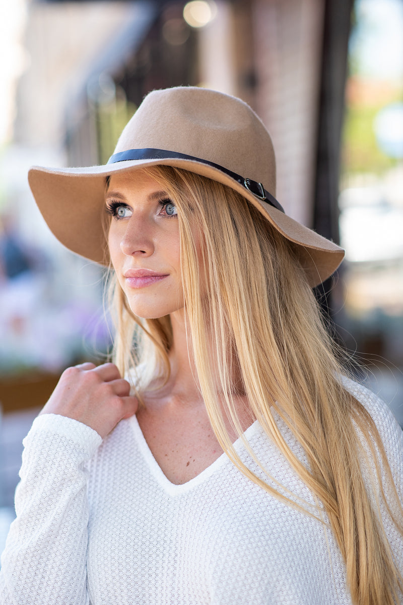 Wool Panama Hat with leather band : Mocha