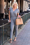 Make It Easy Short Sleeve Jumpsuit : Grey