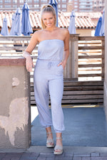 Right By My Side Striped Jumpsuit : Light Blue