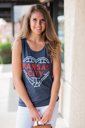 Kansas City Heart Me Tank: Charcoal & Red