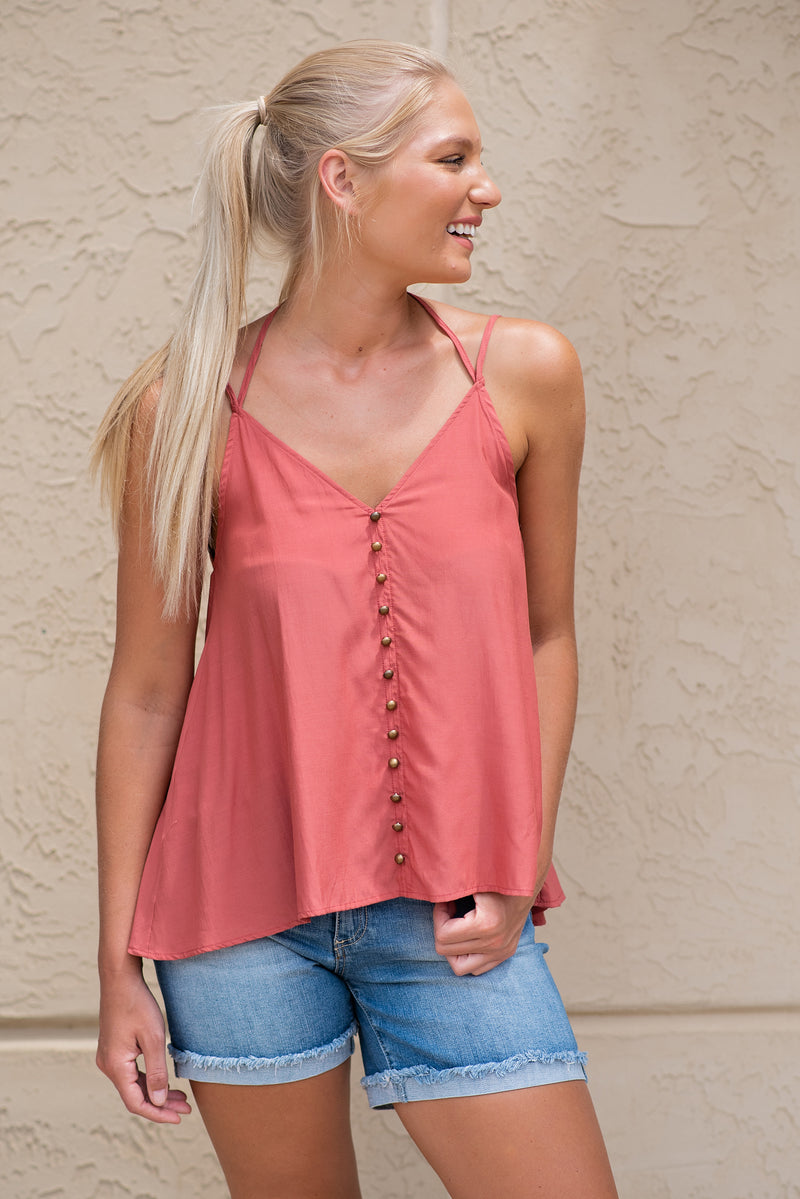 Sweet Carolina Double V Neck Top : Canyon