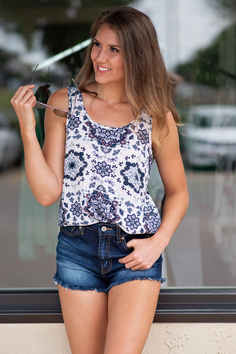 Vivid Moment Tank Top : Sage/Navy