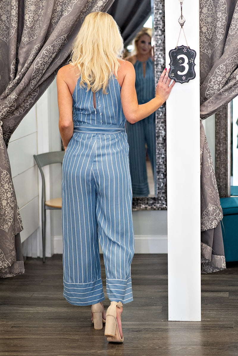 Jump Around Striped Jumpsuit : Denim