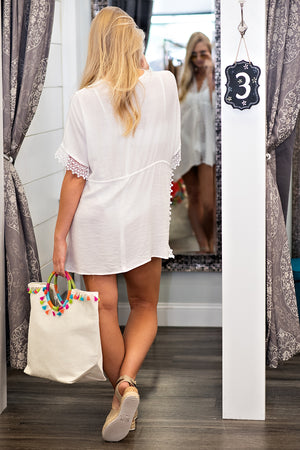 Escape To The Coast Lace Kimono : White