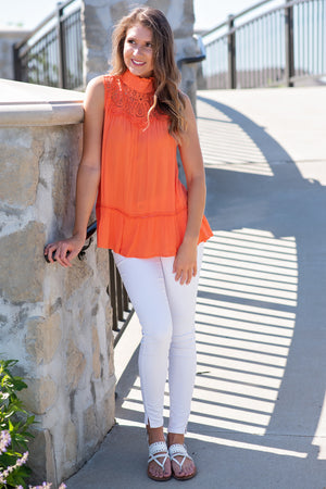 Arms Wide Open Lace Trim Sleeveless Top : Coral