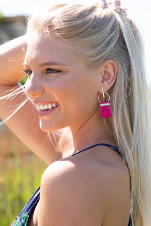 Love You Out Loud Circle Tassel Earrings : Fuchsia
