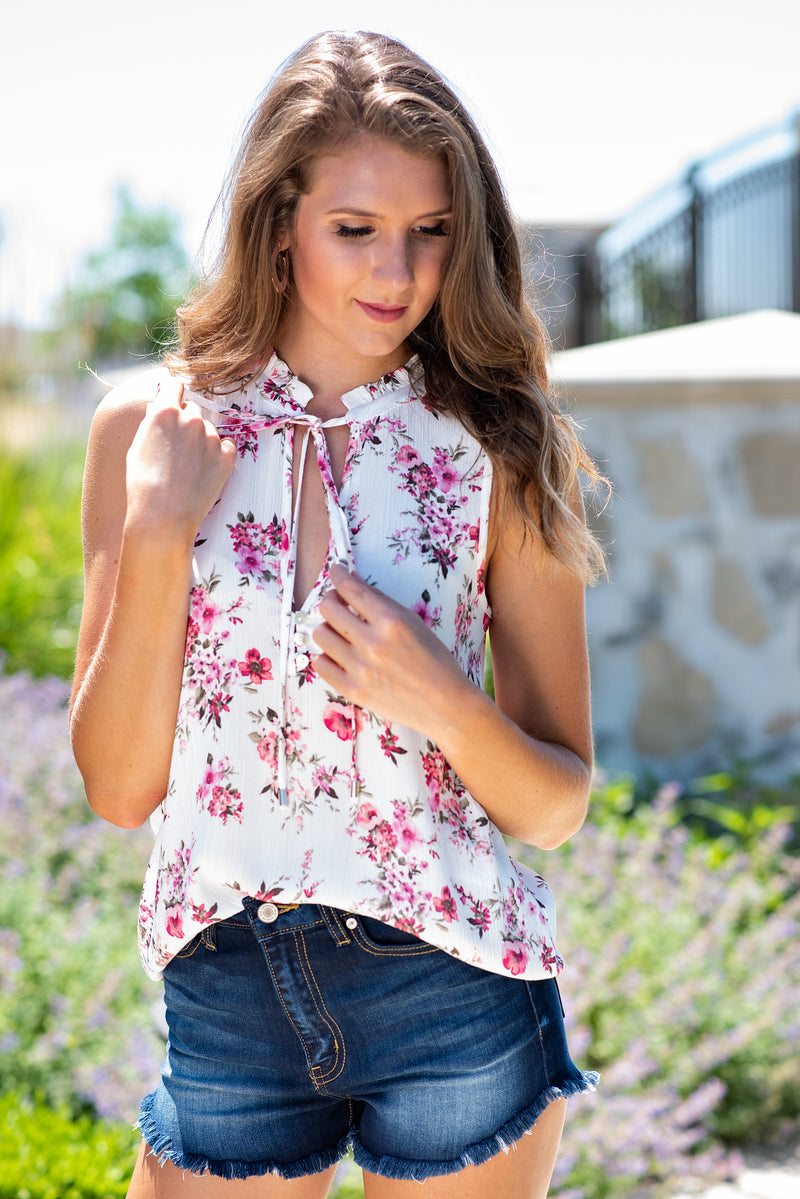 So Obsessed Floral Tie Neck Top : Ivory