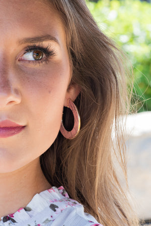 Save The Drama Cork Gold Hoop Earring: Pink