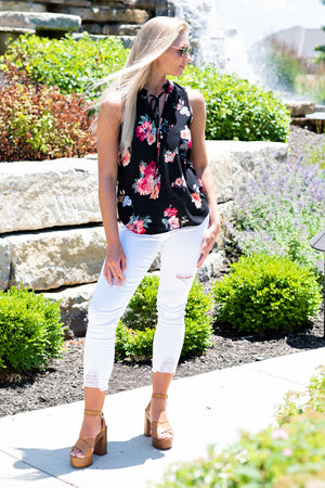 So Obsessed Floral Tie Neck Top : Black