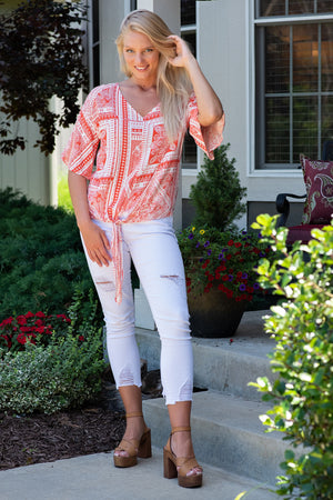 Cool Summer Breeze Front Tie Top: Coral