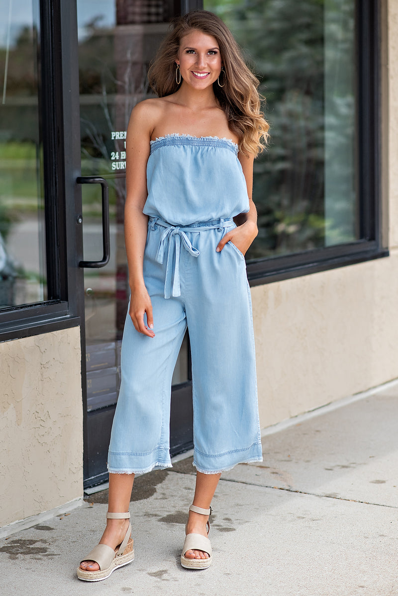 Something To Keep Strapless Frayed Jumpsuit : Light Blue
