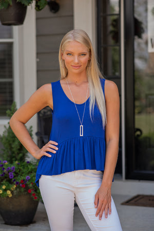 Go Getter Peplum Top : Royal Blue