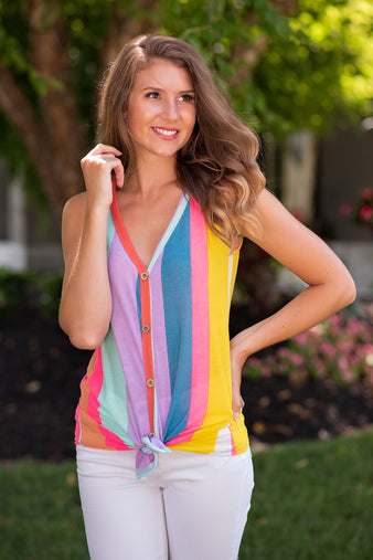 Make it Hot Button Down Tie Front Tank: Multi