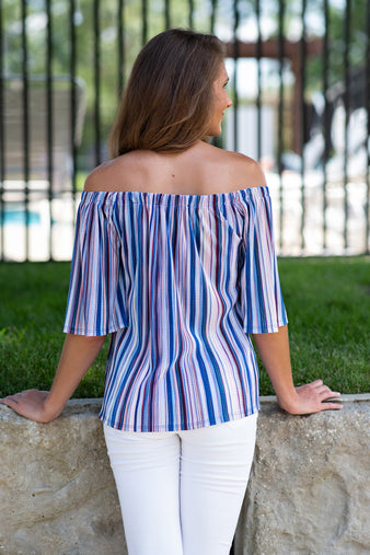 Pure Bliss Striped Off the Shoulder Blouse : Blue Multi