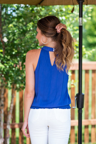 Groove is in the Heart Halter Top: Royal Blue