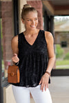 Weekend Upgrade V Neck Top : Black