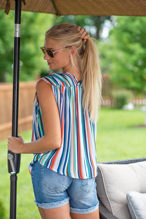 Token for Success Tie Sleeve Striped Blouse : Multi